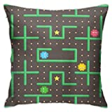 SXboxing Decorative Throw Pillow Covers 18x18 Inches,Christmas Square Throw Pillow Cases for Sofa Bedroom Car Pac Man Analog Game with Ghosts Modern Arcade Video Interface World Computer Mobile