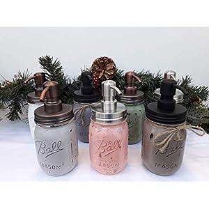 Ball Einmachglas (Mason Jar) Seifenspender handbemalt 16 Unzen mit Edelstahlspender mit 7 Glasfarben und 3 Deckelfarben…