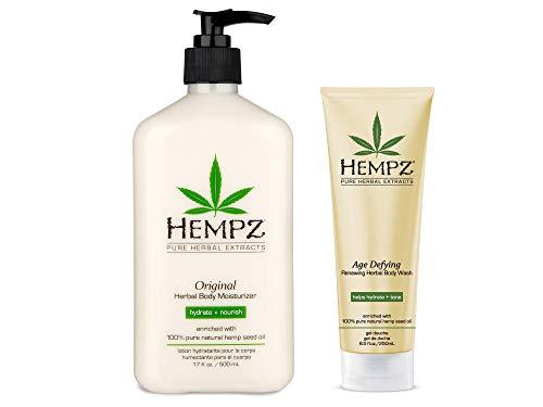 Hempz Original Herbal Body Moisturizer, 17 Fl Oz + Hempz Age Defying Renewing Herbal Body Wash, 8.5 Oz, 2 Pack Bundle – Shea Butter & Ginseng to Hydrate, Nourish & Tone Skin
