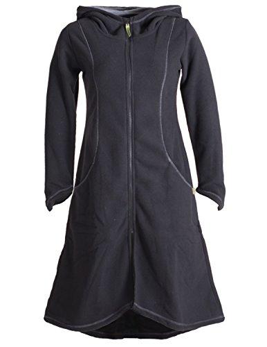 Vishes - Alternative Bekleidung - Langer Leichter ECO Fleecemantel für den Übergang mit großer Kapuze schwarz 38-40