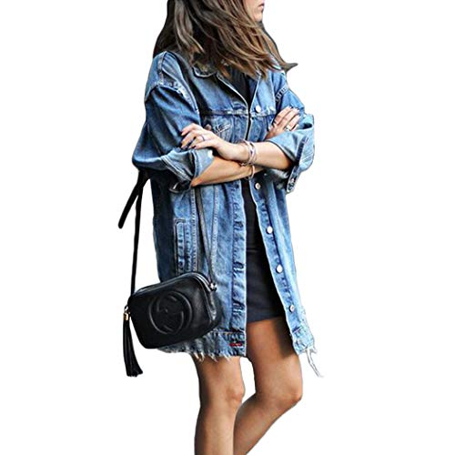 Poitulas Women's Long Style Ripped Denim Jeans Jacket Longline Casual Long Sleeve Outfits Trench Coat Spring Autumn Winter Outwear (Blue, L)
