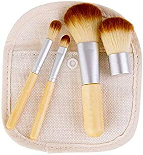 Makeup Brushes Travel Set 4 Pieces Bamboo Brush Easy and Convenient to Carry
