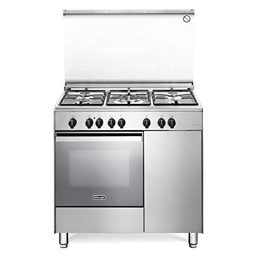 De Longhi DEMX 96 B5 ED - Cucina a gas con forno elettrico multifunzione, 90x60 cm, Inox