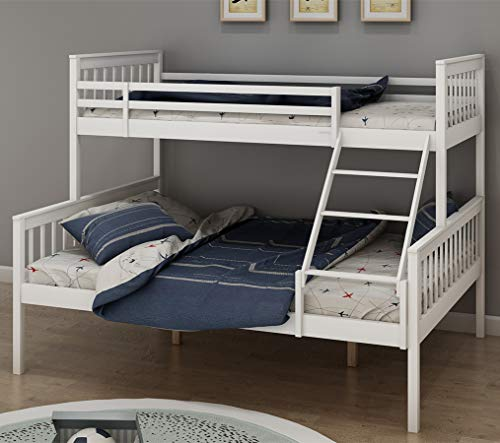 Bunk Bed Wooden, Single Top Double base bed Pine Frame Children's Bed room Furniture Triple Sleeper Bed Frame Bed Sets - No Mattress Included