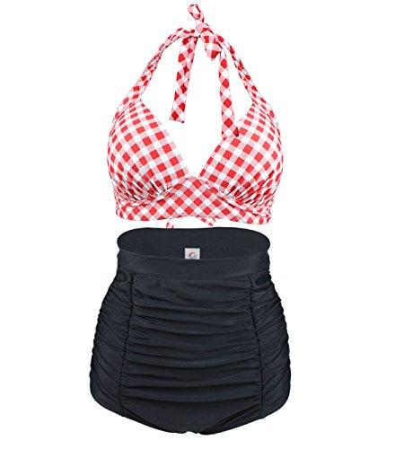LA ORCHID Laorchid Rockabilly 1950s Damen Hohe Taillen Badeanzug Bikini Neckholder Bügellos Kariert Rot & Weiss XXL