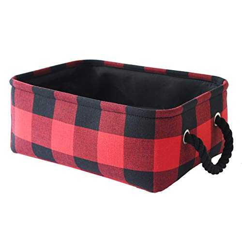 INough Christmas Buffalo Plaid Storage Basket Farmhouse Storage Bins for Kids, Collapsible Red Check Storage Basket for Toys Makeup, Gift for Valentines Day Fabric Toy Box for Baby/Kids/Nursery Room