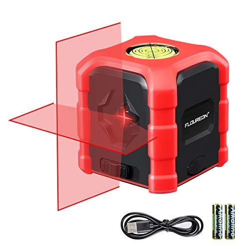 FLOUREON Nivel Láser Autonivelante, Nivel Láser Exterior 360 grados, Nivel de Línea Cruzada con Nivel de Burbuja 3d, Cargar con Tipo C o Pilas, IP54 a Prueba de Agua rojo