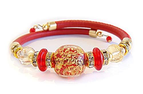 VENEZIA CLASSICA - Pulsera de mujer con perlas de cristal de Murano original y auténtica piel Toscana, colección Diana, con hoja de oro de 24 quilates, fabricada en Italia con certificado rojo