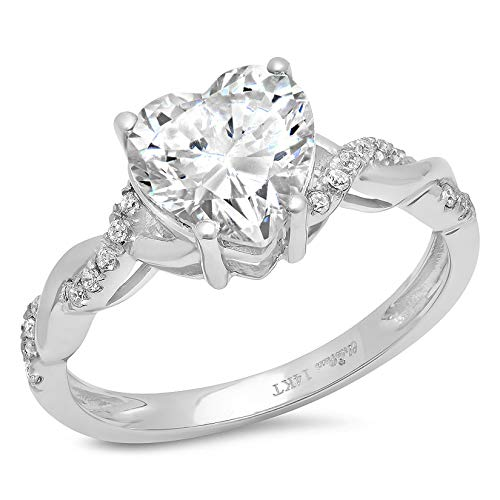 2.13ct Heart Cut Criss Cross Twisted Solitaire Halo Quality Lab Created White Sapphire Ideal VVS1 & Diamond Simulant Engagement Promise Statement Anniversary Bridal Wedding Ring 14k White Gold Size 10