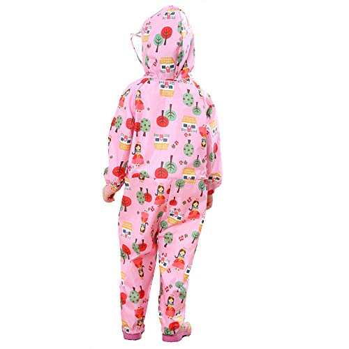 FILOWA Kids Raincoat Puddle Suits Girls Hooded Pink Floral Rainwear Lightweight Overall Waterproof Rainsuit Cartoon Colorful Pattern Portable Breathable PVC Transparent Hat Brim Zipper 1-3 Years