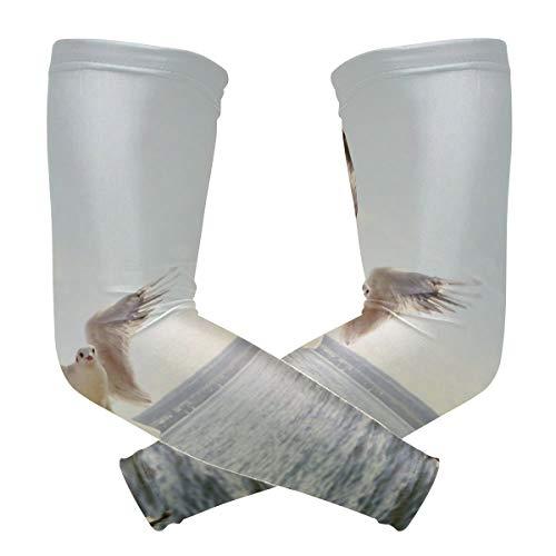 FAJRO Flying Gull Over Sea Protección UV Deportes al aire libre Protección solar Manga de compresión para ciclismo