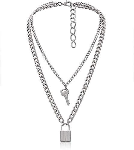 Yiffshunl Collar Collar Collar Punk Lock Llave Colgante Gargantilla Collar de Cadena Gruesa Joyería para Mujer