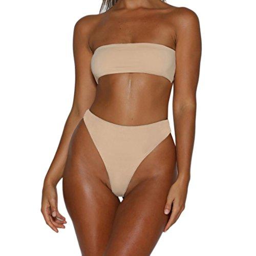 MRULIC Badeanzug Bikini Sets Brasilianische Bademode Cool Beachwear Sommer Mädchen Favoriten(Beige,M)