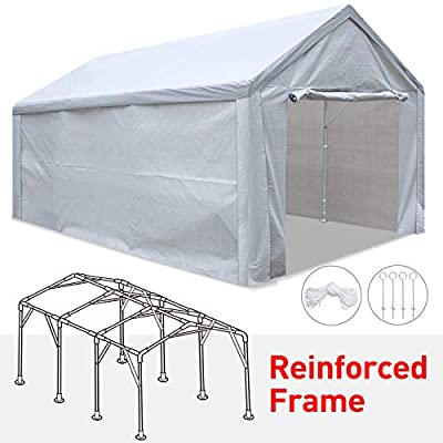 Tentking Rainproof 12'x 20' Carport Outdoor Car Canopy Shelter with Upgraded Reinforced Frame?Removable Side Panels?Zippered Doors and 4 Pieces Anchors for Auto and Boat Storage, 3 Years Warranty