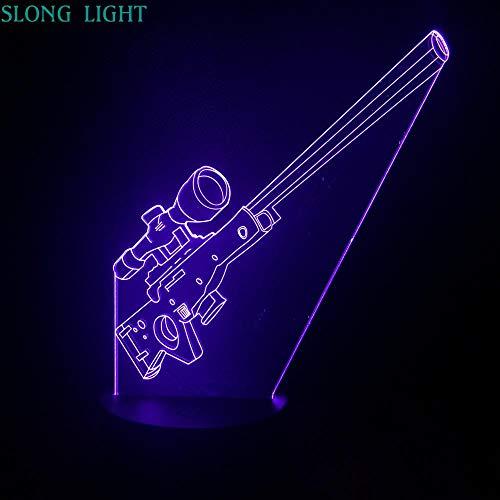 AWP Sniper rifle Night Light LED 3D Illusion USB decoración Niño Niños Regalo Arma Arma Lámpara de mesa de noche