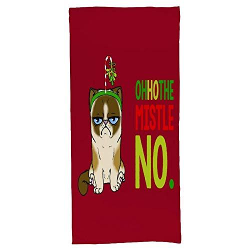 Oh Ho The Mistle No Christmas Cat Toallas de baño Estampadas Suaves.Toalla Absorbente.Se Utiliza principalmente en baños y gimnasios.(27,5 x 15,7 Pulgadas) Pulgadas