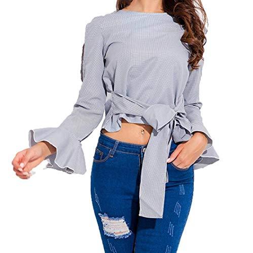 T-SHIRT HOME Top corto para mujer Camisa a rayas con corbata ...