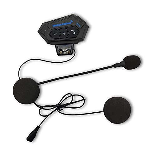 qinjun Casco con micrófono, interfono de motocicleta con Bluetooth y resistente al agua, transmisión Longrang y batería de gran capacidad para casco estéreo