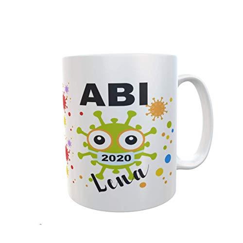 Geschenk zum ABITUR Schulabschluss witzig Tasse personalisiert Namen Mädchen Jungen Abiturgeschenk