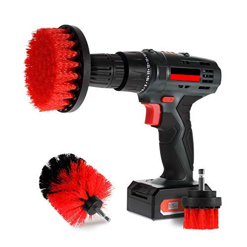Scrub Brush Drill Attachment Kits - Brush Heads for Cordless / Corded Power Drills Impact Drivers – All Purpose Shower...