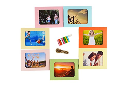 Ponerine Decorative Multicolored Paper Collage Photo Picture Frames – Simple Sturdy DIY Crafts - Home, Corridor, Classroom, Kindergarten, Crèche, Bedroom, Living Room, Hallway, Stairway and Office