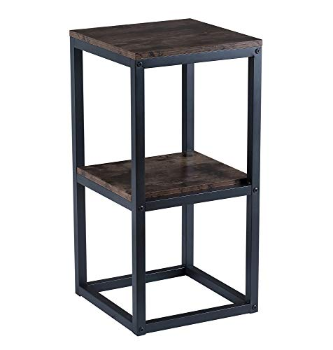 BOTONE Quadratisches Regal, Bücherregal, Pflanzentisch mit Zwei Böden in rustikaler Holz-Optik und stabilem schwarzen Metallrahmen; multifunktional einsetzbar für Wohn- Schlafzimmer, Flur, Bad