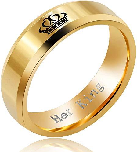 N / A Edelstahl Seine Königin Ihr König Wedding Band für Männer und Frauen, Gold Paare Verlobungsringe mit Crown Tag,Q,Gold-Ihr König