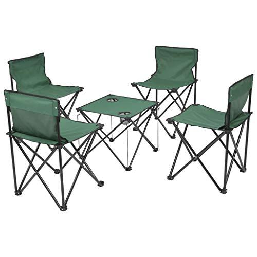 VidaXL 5-TLG. Inklapbare campingtafel, campingstoel, grijs/groen/blauw