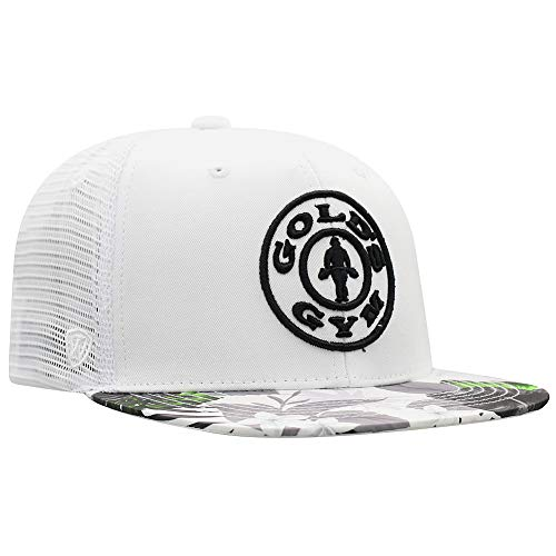 Top of the World Gold's Gym Snap Back Hat White Floral - Adjustable