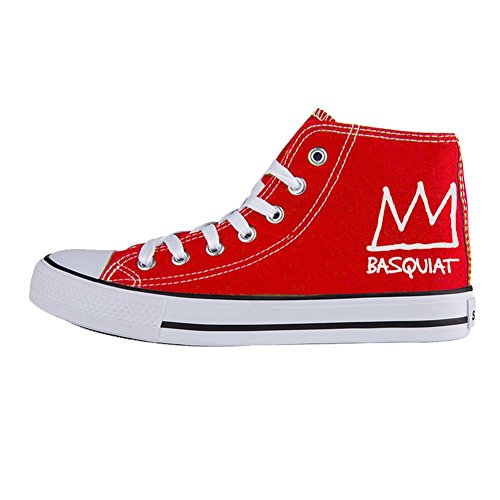 Julongcul Unisex Basquiat Crown High Top Canvas Sports Sneaker Casual Trainers Shoes 39 Red