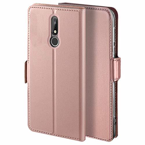 YATWIN Handyhülle für Nokia 7.1 Hülle Leder Premium Tasche Hülle für Nokia 7.1, Schutzhüllen aus Klappetui mit Kreditkartenhaltern, Ständer, Magnetverschluss, Rose Gold