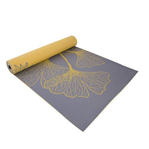 Cap Yoga Eco-Friendly High Resistance Dahlia Ginkgo Reversible Double Side Printed 5mm Yoga Mat