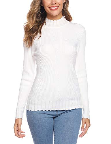 Sykooria Damen Rollkragenpullover Langram Slim Fit Rollkragen Pullover, Weiß 2, XL