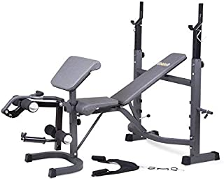 Body Champ BCB5860 Olympic Weight Bench with Preacher Curl, Leg Developer and Crunch..