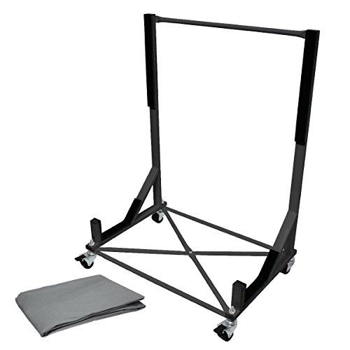 ECD Germany Hardtopständer mit Abdeckhaube - Schwarz - aus Stahl - inkl. 4 Rollen - Hardtop Ständer Halter Aufbewahrung Trolley