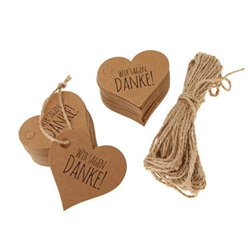 Baoblaze 100x Papieranhänger Geschenk Anhänger Etiketten Tags Label mit '' Wir sagen Danken ! '' Zeichen - braun