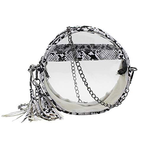 RARITYUS Damen Umhängetasche, durchsichtig, Schlangenleder-Muster, rund, transparent, Handtasche mit Quaste, Weiá (weiß), Einheitsgröße