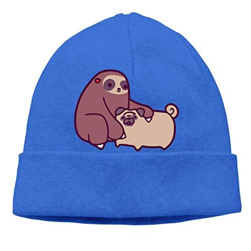 XCNGG Gorro de Punto Gorro de Lana Unisex Sloth and Pug Knit Cap, Soft Skiing Cap
