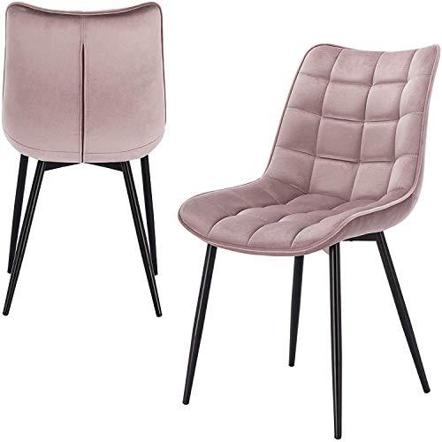 Relaxbx Esszimmerstuhl 2er-Set Küchenstuhl Wohnzimmerstuhl Besucherstuhl Konferenzstuhl mit Rückenlehnen-Design aus Samt und Metall Pink