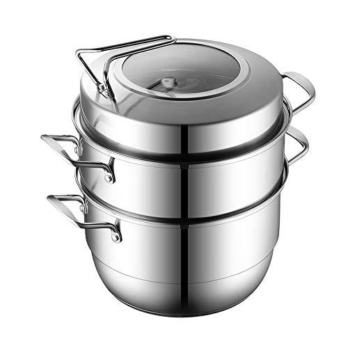 YFGQBCP vaporera Steamer hogar de Acero Inoxidable 3 Capa Espesada Steamer, Apto for inducción Cocina de Gas, la Tapa Visible, Espesada Anti escaldaduras Handle