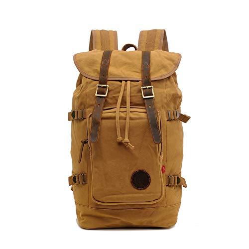 GUMU Vintage Lona Mochila De Bandolera La Bolsa Hombro Messenger Bag Laptop Backpack Mochilas Sport para Hombres Mujer,Kaki