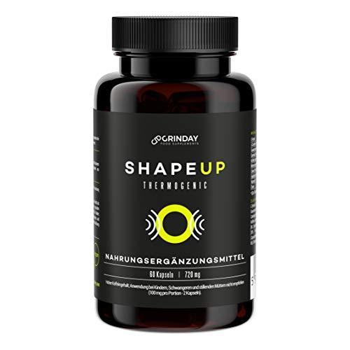 Grinday Shape Up Thermogenic   Fettverbrenner   Fat Burner   Nahrungsergänzungsmittel   60 Kapseln   Vegan   Standardisierte Pflanzenextrakte
