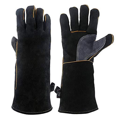 WEIW extreme hittebestendige handschoenen leer - handschoenen perfect voor open haard, kachel, Oven, Grill, Welding, BBQ, Mig, Pot Holder, Animal Handling LUCKY