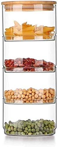 Recipientes Hermeticos Alimentos Puertas de galletas Tarro de vidrio de 3 niveles con tapa de bambú Tarra de almacenamiento de vidrio transparente Recipiente de recipiente Ideal para uso como plato de
