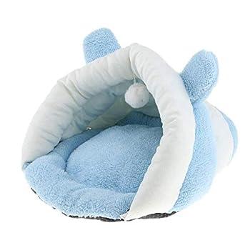 Backbayia Panier Chien Chat de Citrouille Lit Couchage Mobilier en Coton Portable pour Animal Domicile (Bleu)