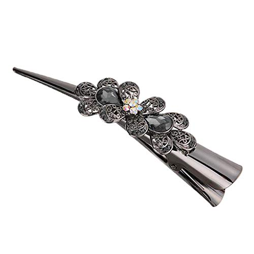 Sharplace Metall Haarspangen mit Blumen Strass, Haar Clips Metallklemmen Haarklemmen Haarclips, Haarklammern Frauen Haarschmuck - Grau