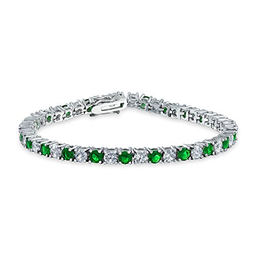 Bling Jewelry Green White Alternating Round CZ Tennis Bracelet for Women Simulated Emerald Cubic Zirconia Rhodium Plated Brass 7.5In