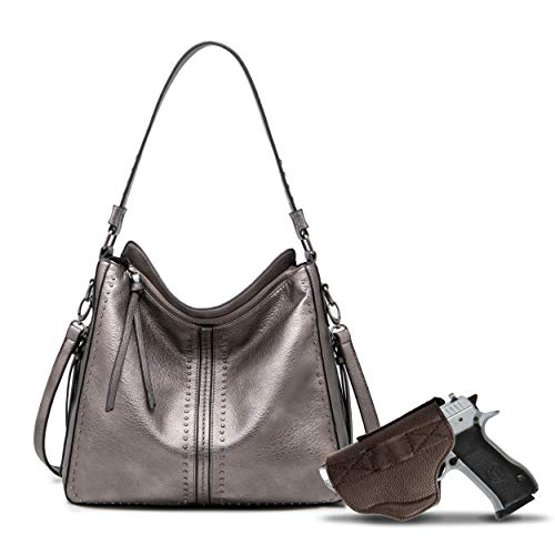 Gray Large Concealed Carry Hobo Purse for Women Studded Leather Crossbody Shoulder Bag With Gun Holster - Conceal Weapon MWC-G1001GP