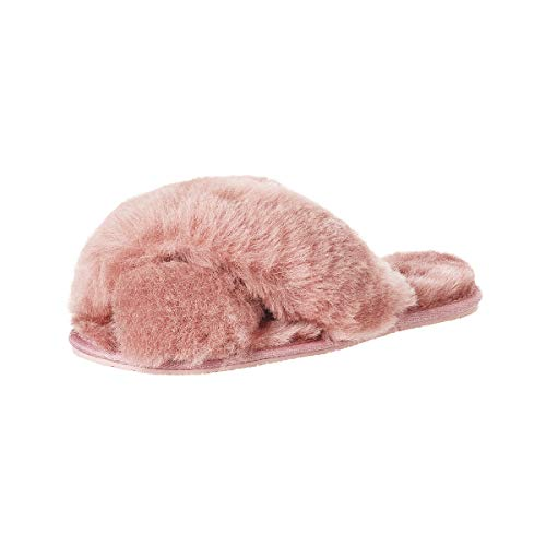 soxo Lammfell Hausschuhe Damen | Frauen Warme Fluffy Pantoffeln | Bequeme Fellhausschuhe in Rosa Farbe (2 Farbe), Pink, 39 / 40 EU
