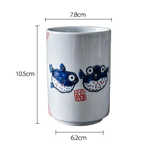 Pez Globo 300 Ml De Flores De Porcelana De Cerámica De Estilo Japonés Taza De Té Artesanía Bajo Vidriado Vasos Para Beber Desayuno Leche Taza De Café CoolLittleBee